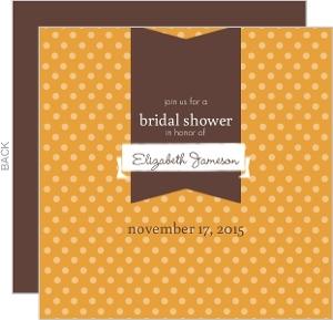 Orange and Brown Polka Dot Bridal Shower Invite