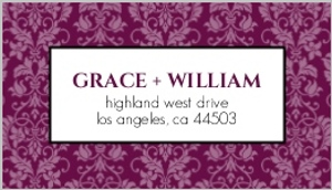 Sangria and Black Elegant Damask Address Label