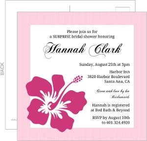 Pink Hibiscus Bridal Shower Invite