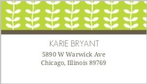Green Spring Pattern Wedding Address Label