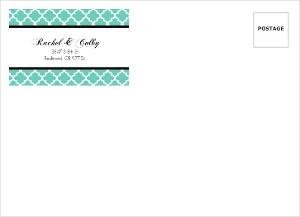 Turquoise Pattern Elegant Wedding Envelope