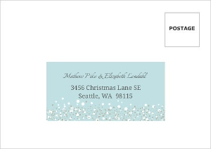 Blue and Taupe Snow Winter Wedding Response Envelope