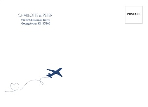 Destination Blue and Gray Plane Address Envelope