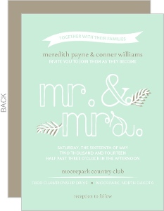 Mint Floral Typographic Wedding Invite