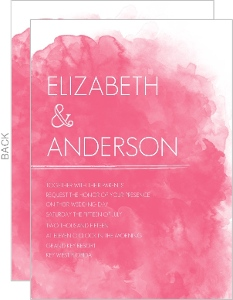 Pink Watercolor Wedding Invitation