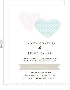 Two Hearts Whimsical Wedding Invite
