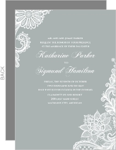 Gray and White Lace Wedding Invitation