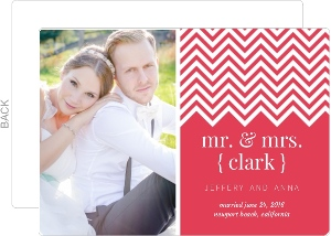 Simple Pink Stripes Wedding Announcement