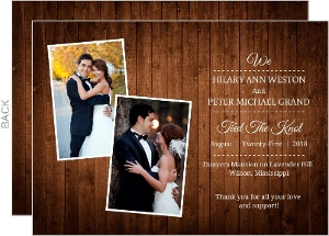 Wooden Picture Perfect Love Wedding Announcement