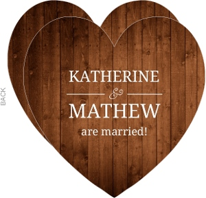 Simple Rustic Wood Heart Wedding Announcement