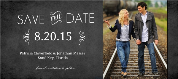 Vintage Chalkboard Photo Wedding Save the Date – Email Save the Date Wedding
