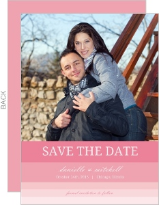 Pink Ombre Save The Date Announcement