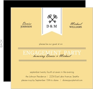 Yellow and Black Skeleton Key Engagement Party Invite