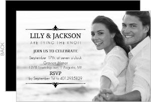 Elegant Black Frame Engagement Party Invitation