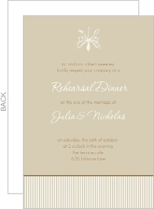 Brown and White Antique Rehearsal Dinner Invite Card