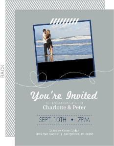 Destination Blue and Gray Plane Reception Invitation