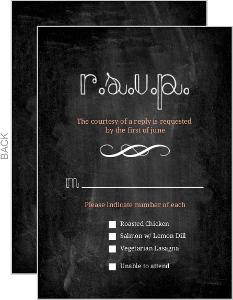 Peach Chalkboard Response Card