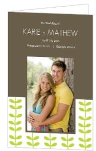 Green Spring Pattern Wedding Program