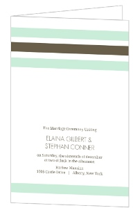 Mint and Brown Soft Stripes Wedding Program
