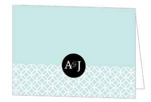 Turquoise Monogram Wedding Thank You Card