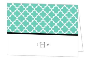 Turquoise Pattern Elegant Wedding Thank You Card