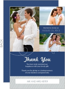 Destination Blue and Gray Plane Thank You Card