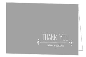 Gray Whimsical Wedding Thank You Card