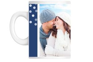 Blue Snowflake Wedding Announcement Custom Mug