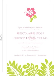 Tropical Palm Leaves and Hibiscus Wedding Invite