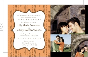 Fall Wheat Orange and Brown Photo Wedding Invite