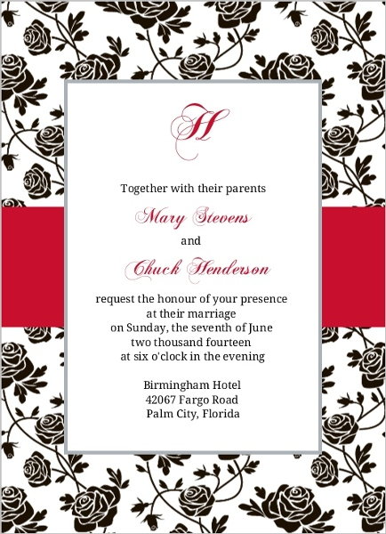 romantic roses black and red wedding invitation  wedding invitations, Wedding invitations