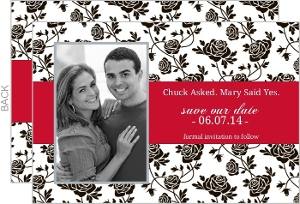 Romantic Roses Black and Red Save The Date