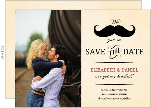 Vintage Mustache Save The Date