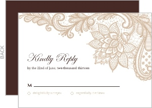 Brown and White Floral Lace Response Card
