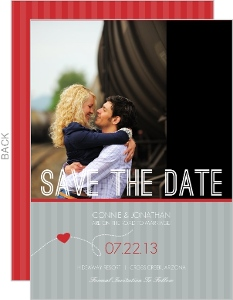 Red and Gray Journey Save The Date Announcement
