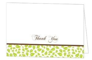 Brown Green Love Birds Wedding Thank You Card