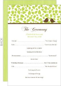Brown Green Love Birds Wedding Program
