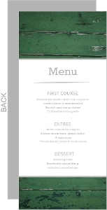 Green Wood Grain Photo Wedding Menu Card