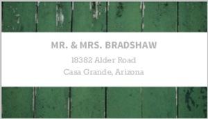Green Wood Grain Photo Address Label