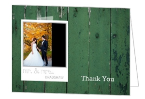 Green Wood Grain Photo Wedding Thank You Card