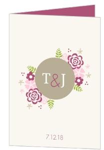 Pink Flowers Wedding Program
