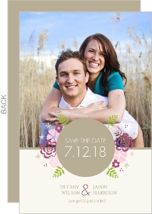 Pink Flowers Save The Date Announcement