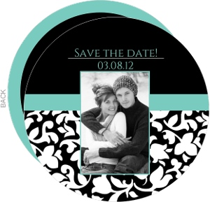 Elegant Black White and Aqua Save the Date Announcement