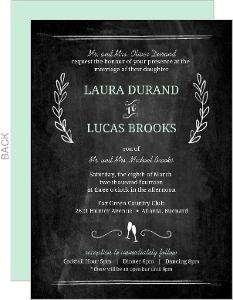 Chalkboard Mint Green Floral Wedding Invitation