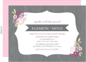 Gray Pink Floral Frame Wedding Invitation