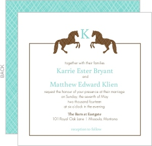 Brown and Tiffany Blue Horse Monogram Wedding Invitation
