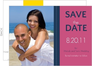 Pink and Navy Striped Save the Date Announcement