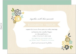 Cream Floral Frame Wedding Invitation