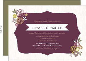 White and Purple Floral Frame Wedding Invitation