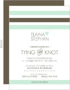 Mint Brown Soft Stripes Wedding Invitation